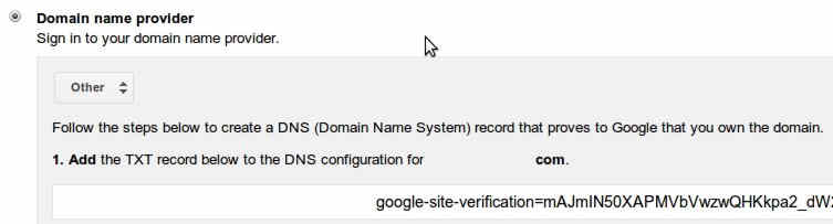 setup google apps verify domain
